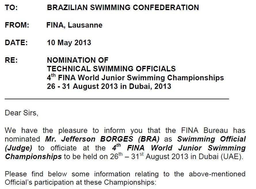 O comunicado oficial da FINA convocando o árbitro para o Mundial de Barcelona 2013