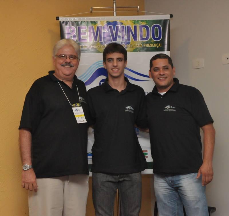 No Encontro de Árbitros, à esquerda outro árbitro FINA, Marcelo Falcão