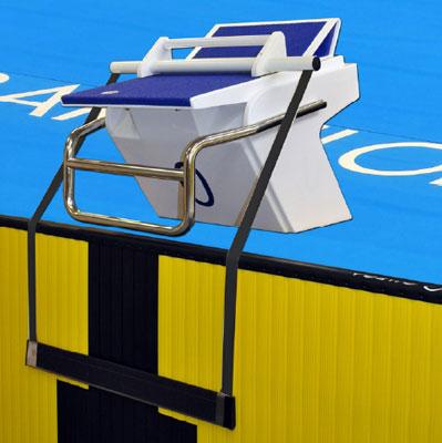 O dispositivo de saída de costas instalado num bloco de partida